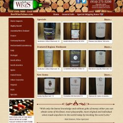 cropped view of wine website.