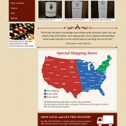 Custom graphics and layout for a wine seller.
