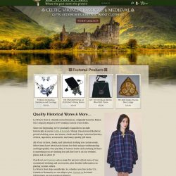 Celtic Inspired eCommerce website, selling renascence clothing and wares.