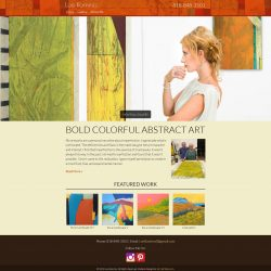 Website with woman looking at abstract art by Lois Ramirez.