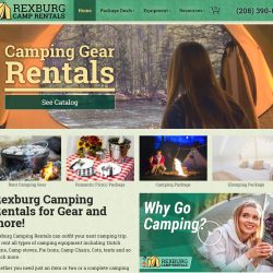 Website for a camp equipment rental.