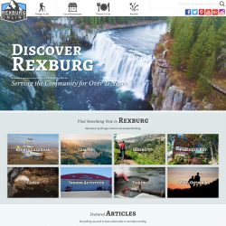 Video header with a waterfall for Rexburg Online.