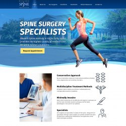 Woman running across a stylized blue banner on a Spine Surgury website.